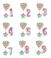 "30"" Number Foil Helium Balloons Gradient Marble 8 balloon set Happy Birthday"