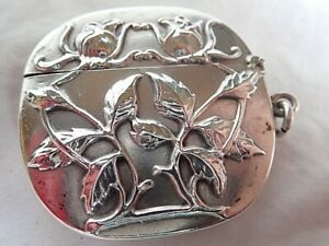 c1910 Antique AMERICAN Gorham Silver Vesta Case MATCHSAFE Arts & Crafts ROSES