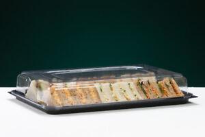 Quality Disposable LARGE Black Sandwich Platter+Lids Food Trays Parties Buffet