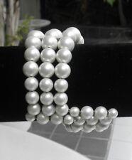 Vintage 60s White Beads Bracelet Costume Jewelry