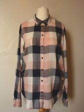 H&M Womens Woven Check Shirt Size 16 Uk BNWT RRP £21.98 Powder Pink Uk Freepost