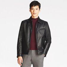UNIQLO 'Faux (Vegan) Leather' Men's Trucker / Bomber Jacket MEDIUM Black **NWT**