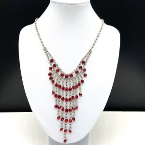 Red & Clear Rhinestone Dangle Drop Chandelier Fashion Statement Necklace Formal