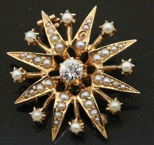 Antique 14K gold elegant .35CTW VS/G diamond & pearl sun/star brooch/pendant
