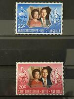 St Christopher / Nevis & Anguilla 1972 Royal Silver Wedding. 2 stamp set MNH