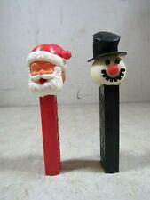 Vintage Pair No Feet 1960's 70's Santa Claus & Snowman Pez Dispensers Austria