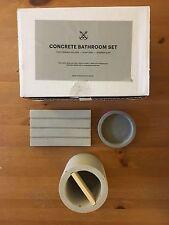 NWT PORT LIVING CO. CONCRETE BATHROOM SET BESPOKE BOX TOOTHBRUSH SOAP BURNER
