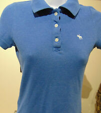 Abercrombie & Fitch Women's Blue Dolman sleeve Polo Shirt small