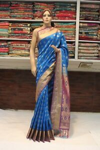 Kanjivaram Silk Indian Traditional Saree Ethnic Sari Bridal Party Wear Dress