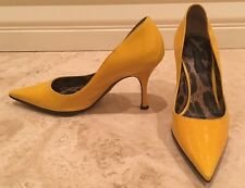 DOLCE GABBANA Yellow Patent Leather Stiletto Heels Pumps EU 35 Worn Once! ITALY