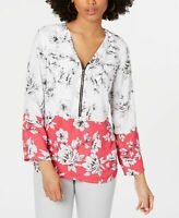 Alfani Women's Knit Top Pink White Size Medium M 1/2 Zip Floral Blouse $59 #254
