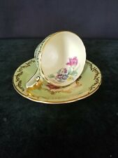 """Aynsley Green w/ Gold Floral 2"""" Footed Cup & Saucer England C280 ~RARE~"""