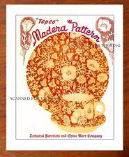 Rare TEPCO Restaurant Ware CATALOG ARTWORK MADERA  Pattern + Price List