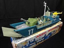 Anzio Invader WWII Toy Ship Vintage IDEAL Toys Playset; Soldiers Tank Helicopter