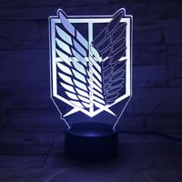 Acrylic Led Night Light Anime Attack on Titan Logo 3D Lamp Bedroom Decor Gift