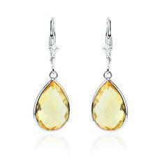 14K White Gold Fancy Cut Pear Shaped Fancy Cut Citrine Dangling Earrings
