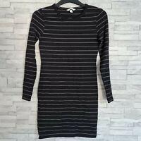 H&M Bodycon Mini Dress Size Small Black/White Striped Long Sleeve Stretchy VGC