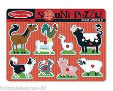 "Melissa & Doug 10726 Plug Puzzle "" Animals on the Farm "" With Sound New! #"
