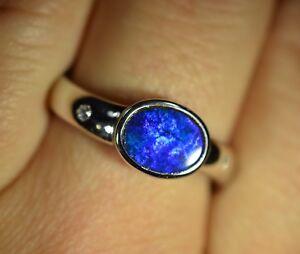 Women Opal 925 Silver Ring with Australian Natural Black Opal Doublet