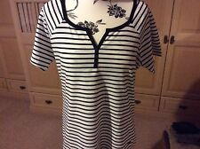 DASH T-SHIRT SIZE 12 WHITE/BLACK STRIPED GREAT FOR SUMMER BNWTS LOOK NOW