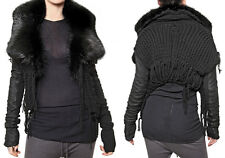 $3500 RICK OWENS HUN Palais Royal  Black Fur Leather Knitted Sweater Jacket US 4