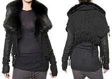 RICK OWENS Palais Royal / HUN  Black Fur Leather Knitted Sweater Jacket US 4