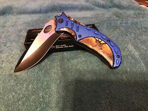 Pocket Knife Spring Assisted Buck Head Hunting Tactical Folding Blue/Black