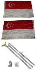2x3 2'x3' Singapore 2ply Flag Aluminum Pole Kit Set