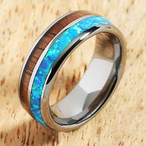 Koa Wood Opal Tungsten Barrel Shape Mens Wedding Ring 8mm TUR4039