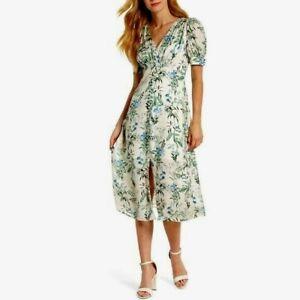 Gal Meets Glam Womens Dress Size 18 Lauren Botanical Garden Midi Puff Sleeves