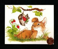 Htf Vintage Possum Rabbit Strawberries Branch - Small Greeting Note Card Unused