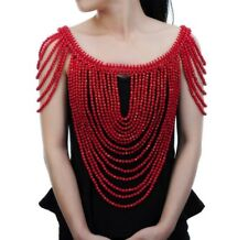 Statement Red Pearl Front & Back Shoulder Necklace Body Chain By Rocks Boutique