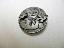 Older Silvertone Metal Bear Pin & Pierced Earrings Combination