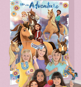 Spirit Free Riding Scene Setter Photo Booth + 12 Props Birthday Wall Decoration