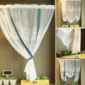 American Tie-up Lace Sheer Curtain Window Shade Kitchen Bedroom Door Curtains