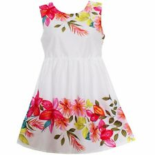 NWT Girls Dress Red Flower Print Cotton Dresses Party Princess Kids Clothing