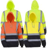 Hi Viz Vis High Visibility Jumper Hoodie Work Hooded Sweatshirt Fleece Pullover