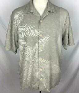 TOMMY BAHAMA Mens MEDIUM Gray Brushed Palm 100% SILK Short Sleeve Hawaiian Shirt