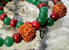 Rudraksha & Green Jade Wrist Mala Beads Healing bracelet