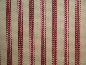 Red Cotton Duck Stripe Ticking Fabric | Primitive Red Striped Home Decor Fabric