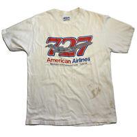 VINTAGE Hanes American Airlines 727 Single Stitch T-Shirt Size L USA Tulsa OK
