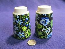 Vintage Black Column Field Flower Salt and Pepper Shakers Napco Ceramic       91