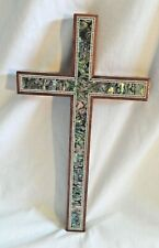 "Large Egyptian Handmade Paua Inlaid Wooden Cross 11.25"" Very Unique # 222"
