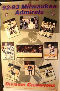 "1992-93 Milwaukee Admirals Division Champions 23 x 36"" Poster IHL Hockey League"