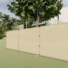 Beige 4ft Outdoor Mesh Fence with Poles Movable Freestanding Patio Pool Fencing