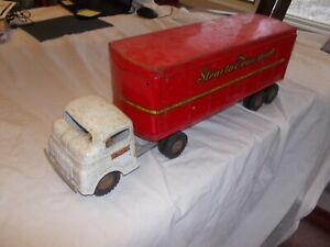 "VINTAGE STRUCTO TRANSPORT PRESSED STEEL 21"" LONG White RARE SEMI TRUCK & TRAILER"