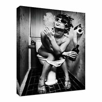 Smoking Girl Toilet black and white Canvas Wall Art Picture Print