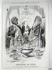 "1916 Punch WW1 Political Cartoon Print 'Gog & Magog' - ""Banqueting as Usual"""