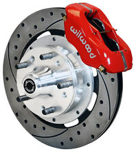 "WILWOOD DISC BRAKE KIT,FRONT,70-78 GM,12"" DRILLED ROTORS,RED CALIPERS,CHEVY,OLDS"