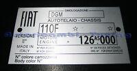 TARGHETTA RIASSUNTIVA DATI FIAT 500 R TELAIO MOTORE C271